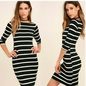 Lulu's Dresses - Lulus Heir Lines Striped Black White Mini Dress